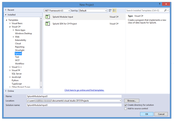 Screen shot of the Visual Studio New Project window